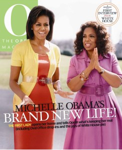 Michelle and Oprah, in a world where belts are a must, even if they are plastic and clear.